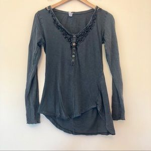 We the Free Long Sleeve Henley Top in Gray 447
